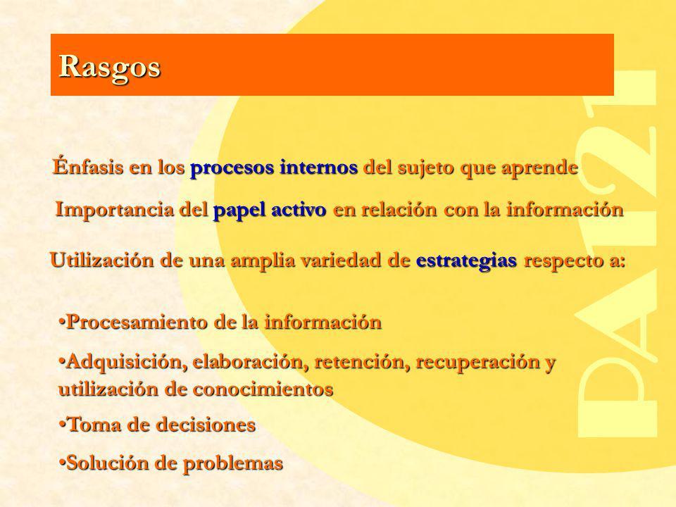 Énfasis en los procesos internos del sujeto que aprende
