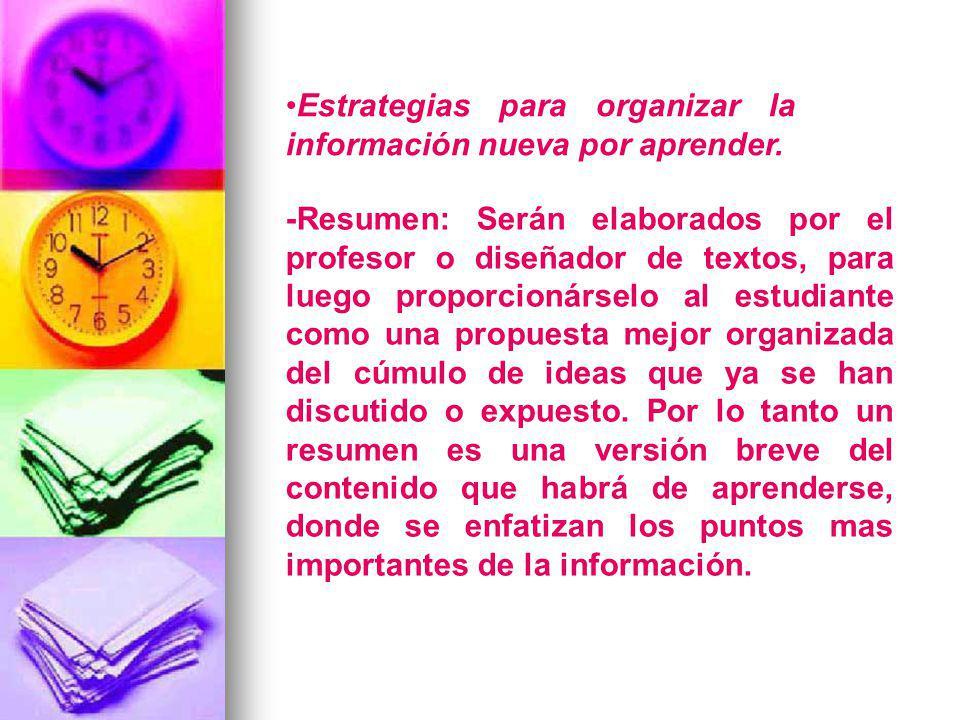 Estrategias para organizar la información nueva por aprender.
