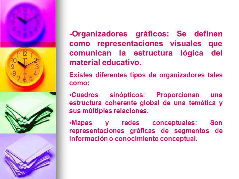 -Organizadores gráficos: Se definen como representaciones visuales que comunican la estructura lógica del material educativo.