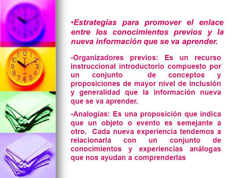 Estrategias para promover el enlace entre los conocimientos previos y la nueva información que se va aprender.