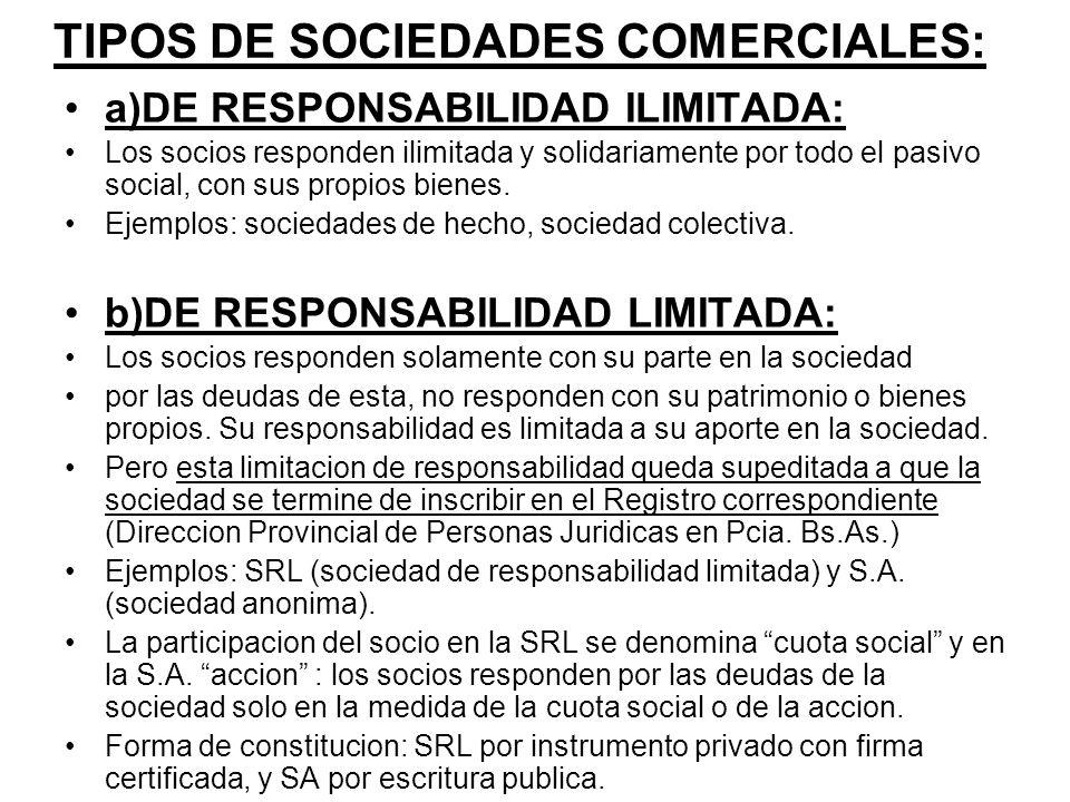 TIPOS DE SOCIEDADES COMERCIALES: