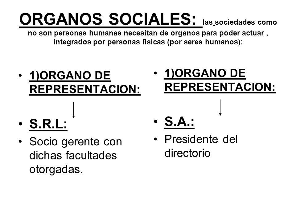 ORGANOS SOCIALES: las sociedades como no son personas humanas necesitan de organos para poder actuar , integrados por personas fisicas (por seres humanos):