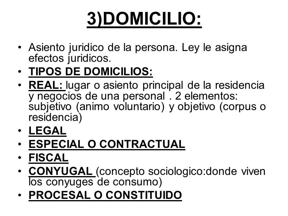 3)DOMICILIO: Asiento juridico de la persona. Ley le asigna efectos juridicos. TIPOS DE DOMICILIOS: