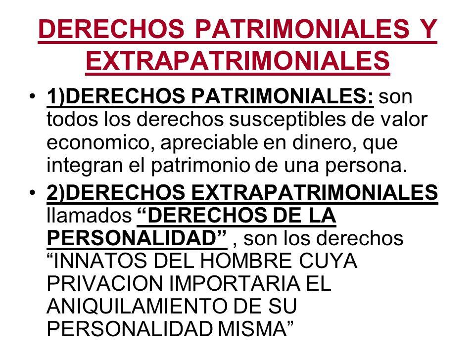DERECHOS PATRIMONIALES Y EXTRAPATRIMONIALES
