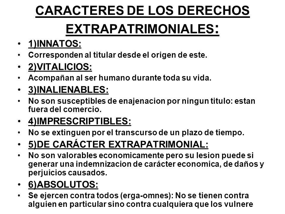 CARACTERES DE LOS DERECHOS EXTRAPATRIMONIALES: