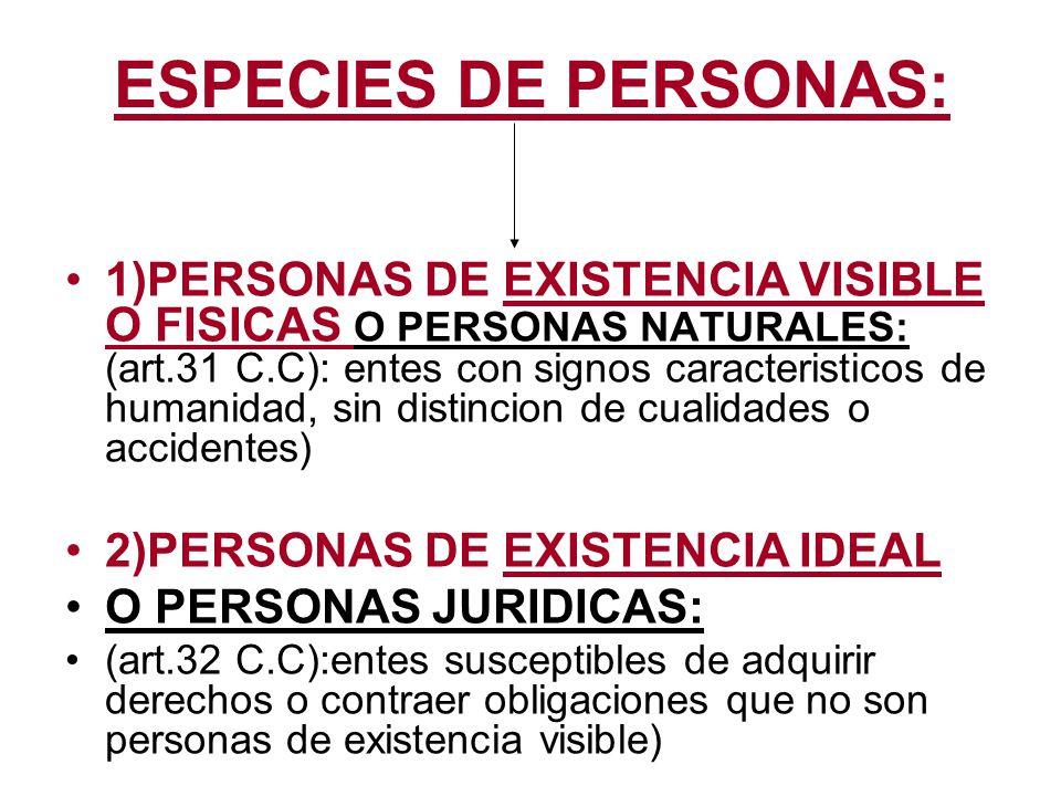 ESPECIES DE PERSONAS: