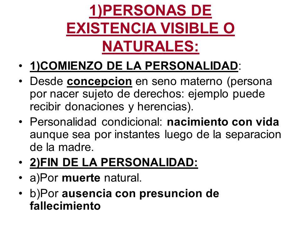 1)PERSONAS DE EXISTENCIA VISIBLE O NATURALES: