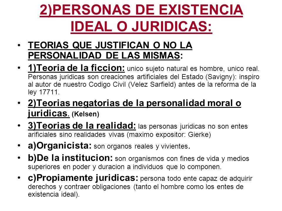 2)PERSONAS DE EXISTENCIA IDEAL O JURIDICAS: