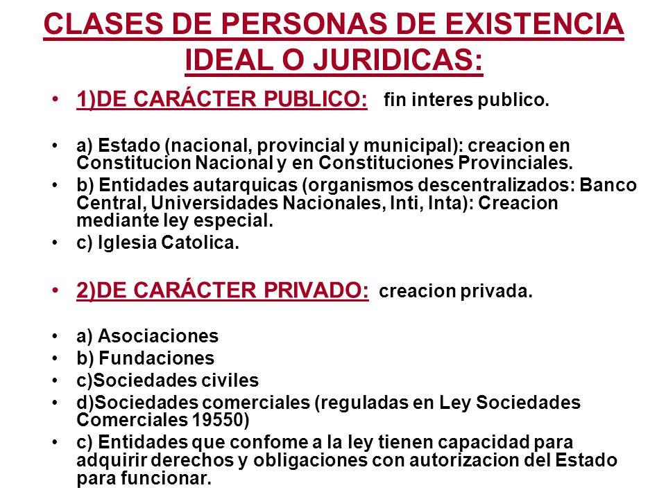 CLASES DE PERSONAS DE EXISTENCIA IDEAL O JURIDICAS: