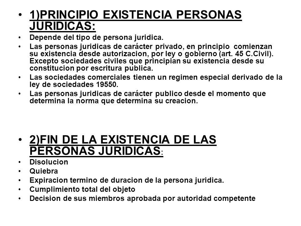 1)PRINCIPIO EXISTENCIA PERSONAS JURIDICAS: