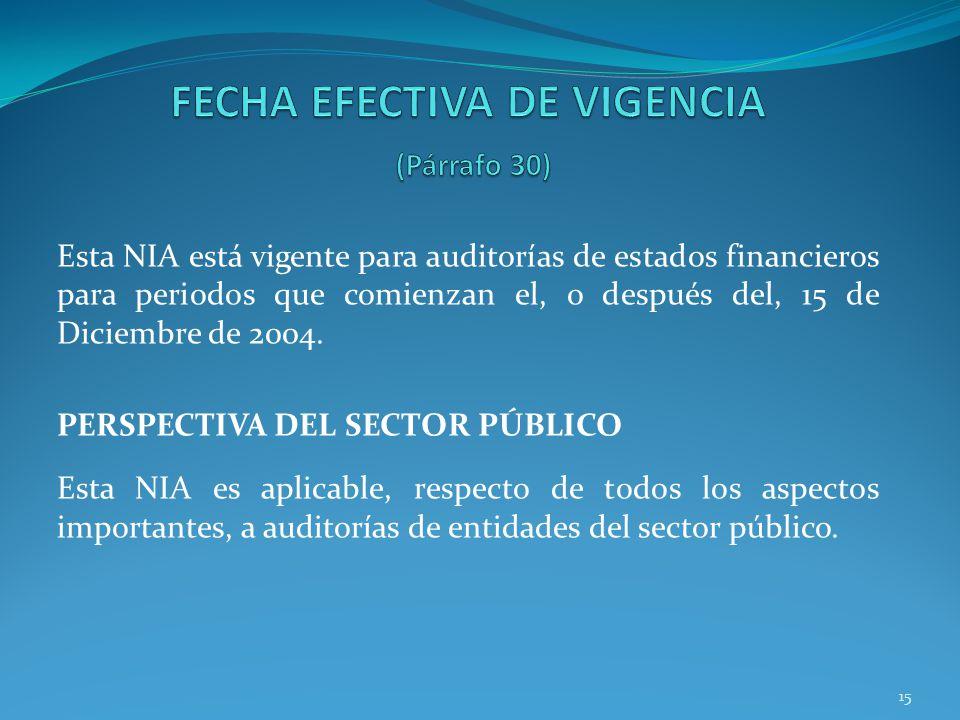 FECHA EFECTIVA DE VIGENCIA (Párrafo 30)
