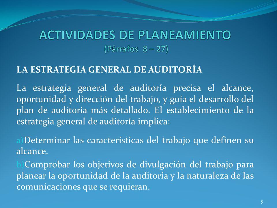 ACTIVIDADES DE PLANEAMIENTO (Párrafos 8 – 27)