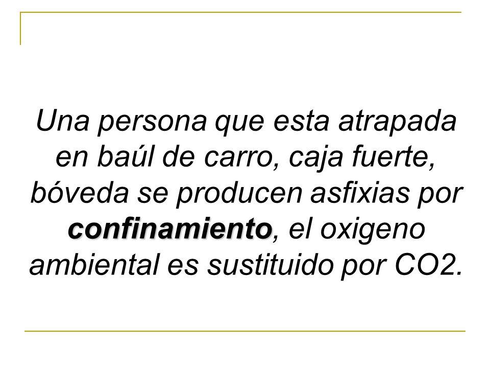Una persona que esta atrapada en baúl de carro, caja fuerte, bóveda se producen asfixias por confinamiento, el oxigeno ambiental es sustituido por CO2.