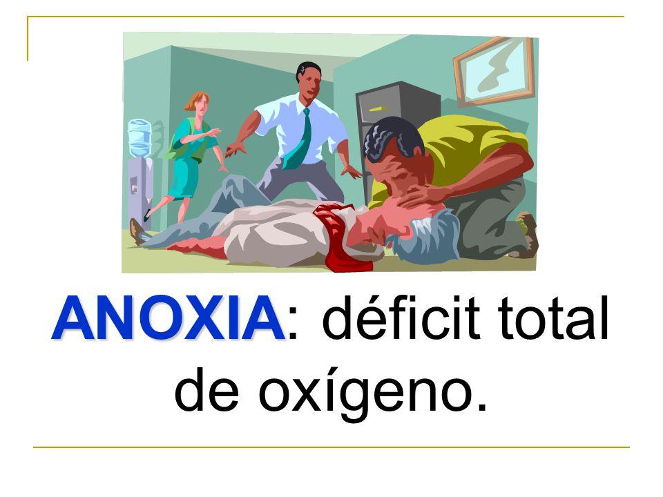 ANOXIA: déficit total de oxígeno.
