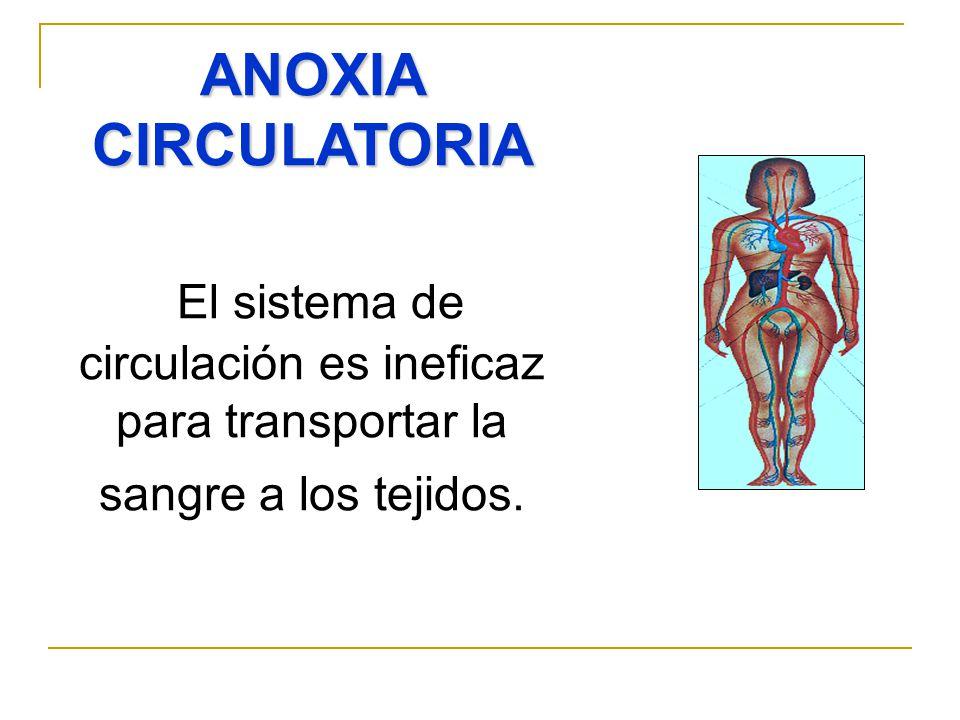 ANOXIA CIRCULATORIA El sistema de circulación es ineficaz para transportar la sangre a los tejidos.