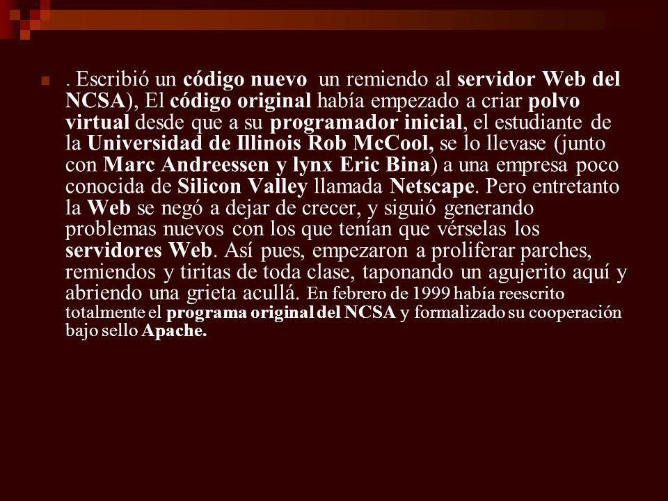 Escribió un código nuevo un remiendo al servidor Web del NCSA), El código original había empezado a criar polvo virtual desde que a su programador inicial, el estudiante de la Universidad de Illinois Rob McCool, se lo llevase (junto con Marc Andreessen y lynx Eric Bina) a una empresa poco conocida de Silicon Valley llamada Netscape.