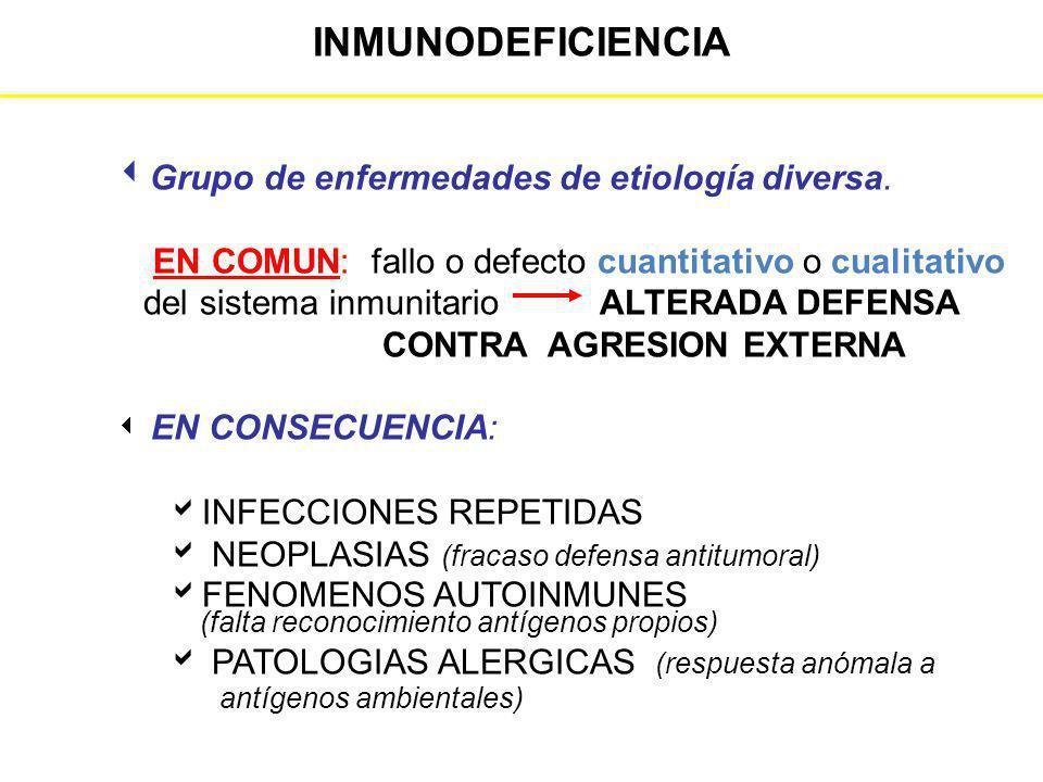 INMUNODEFICIENCIA Grupo de enfermedades de etiología diversa.
