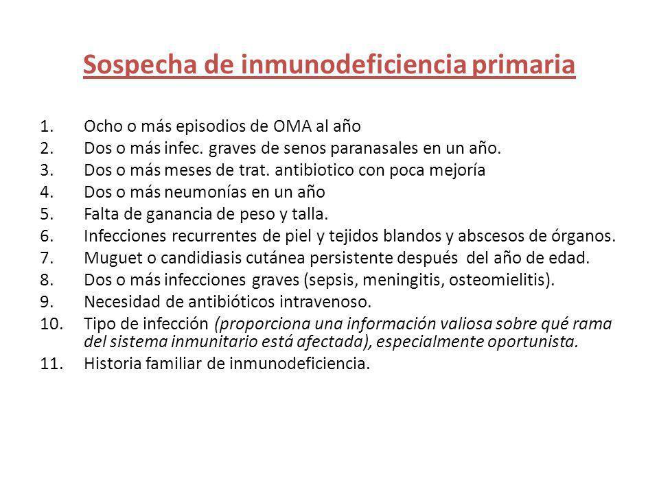 Sospecha de inmunodeficiencia primaria