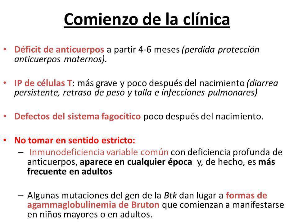 Comienzo de la clínica Déficit de anticuerpos a partir 4-6 meses (perdida protección anticuerpos maternos).