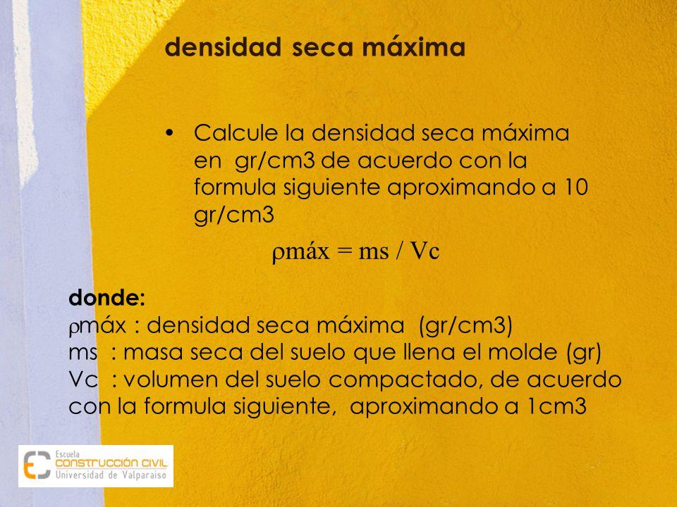 densidad seca máxima Calcule la densidad seca máxima en gr/cm3 de acuerdo con la formula siguiente aproximando a 10 gr/cm3.