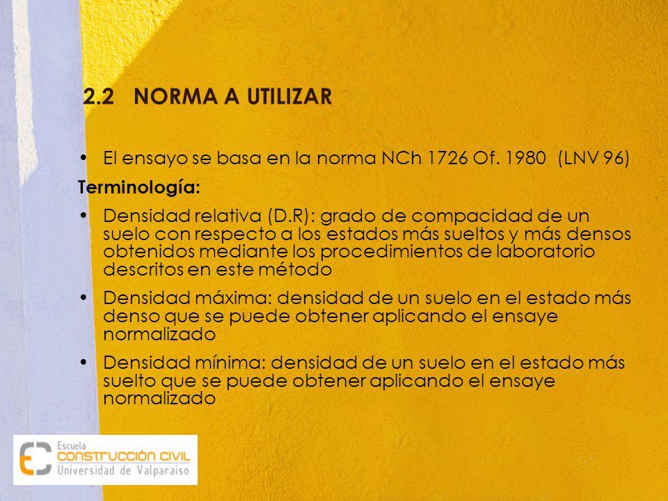 2.2 NORMA A UTILIZAR El ensayo se basa en la norma NCh 1726 Of. 1980 (LNV 96) Terminología: