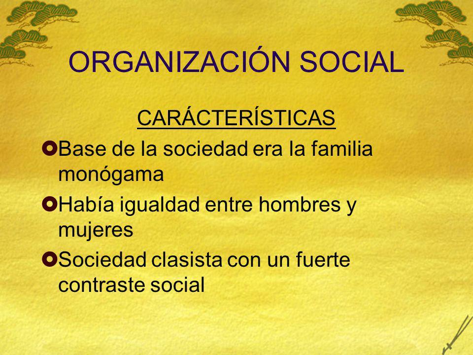 ORGANIZACIÓN SOCIAL CARÁCTERÍSTICAS