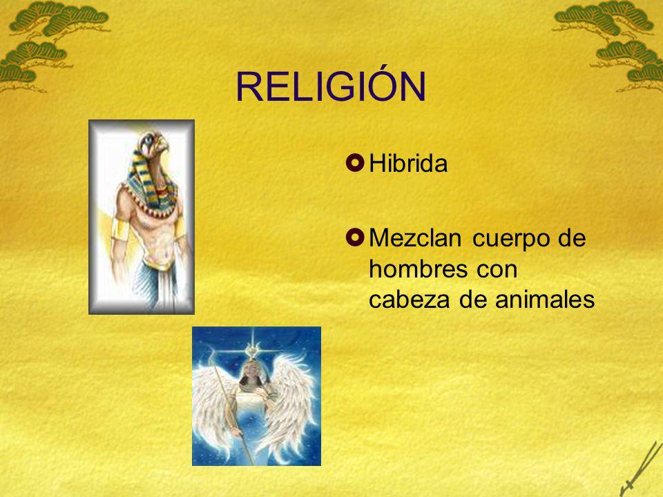 RELIGIÓN Hibrida Mezclan cuerpo de hombres con cabeza de animales