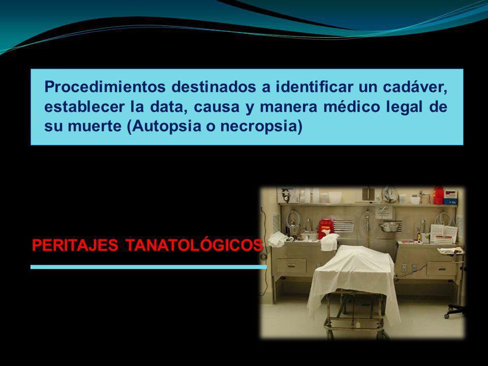 Procedimientos destinados a identificar un cadáver, establecer la data, causa y manera médico legal de su muerte (Autopsia o necropsia)
