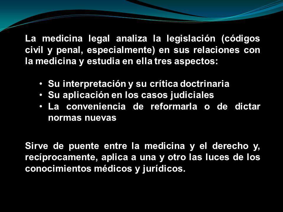 La medicina legal analiza la legislación (códigos civil y penal, especialmente) en sus relaciones con la medicina y estudia en ella tres aspectos:
