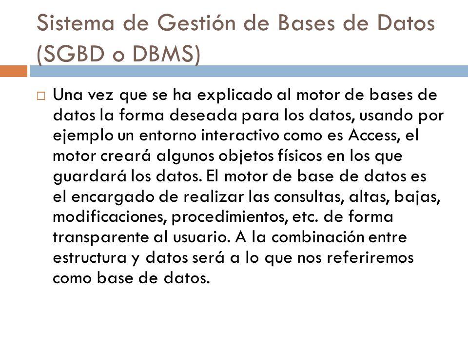Sistema de Gestión de Bases de Datos (SGBD o DBMS)
