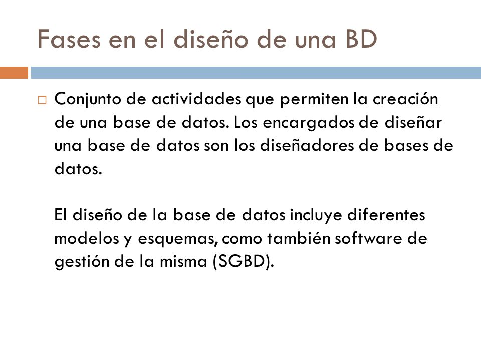 Fases en el diseño de una BD