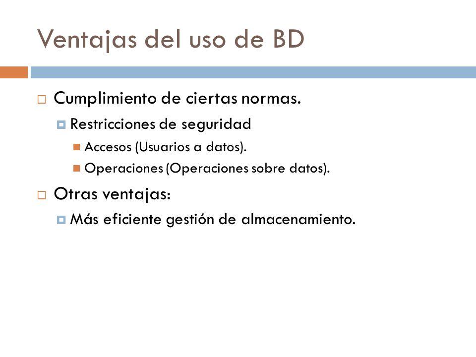 Ventajas del uso de BD Cumplimiento de ciertas normas. Otras ventajas:
