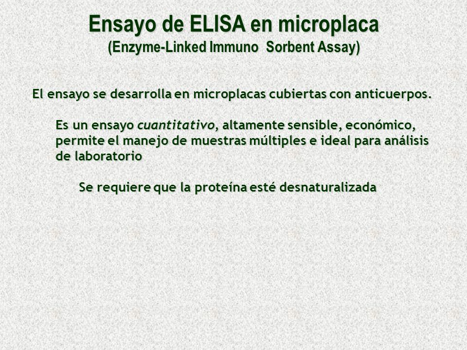 Ensayo de ELISA en microplaca (Enzyme-Linked Immuno Sorbent Assay)