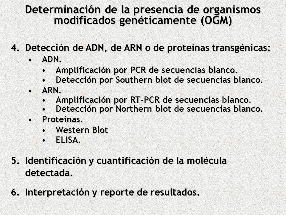 Determinación de la presencia de organismos modificados genéticamente (OGM)