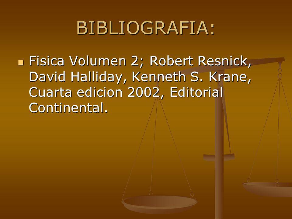 BIBLIOGRAFIA: Fisica Volumen 2; Robert Resnick, David Halliday, Kenneth S.