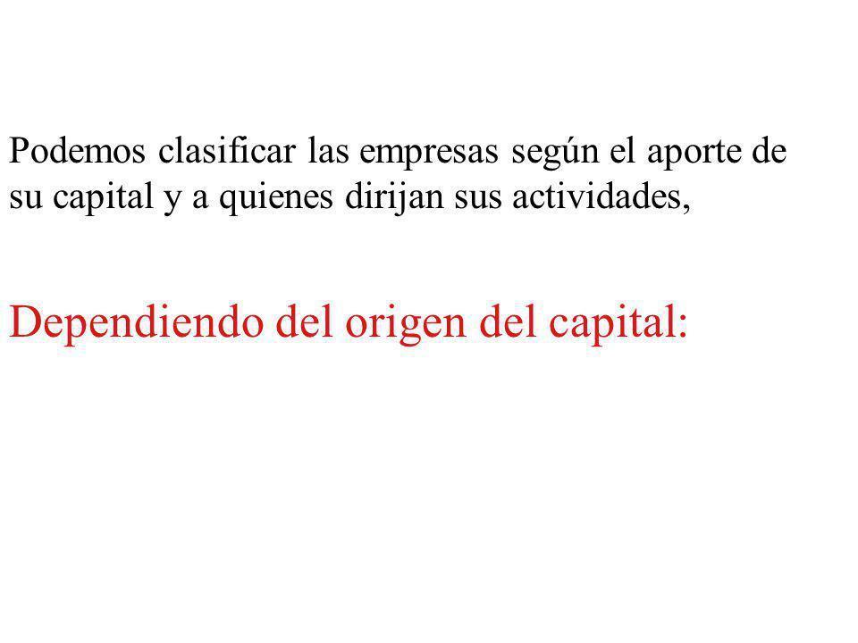 Dependiendo del origen del capital: