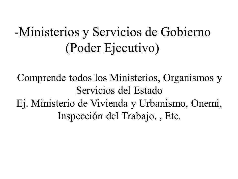 Ministerios y Servicios de Gobierno (Poder Ejecutivo)