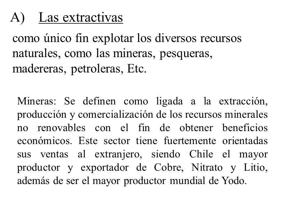 A) Las extractivas como único fin explotar los diversos recursos naturales, como las mineras, pesqueras, madereras, petroleras, Etc.