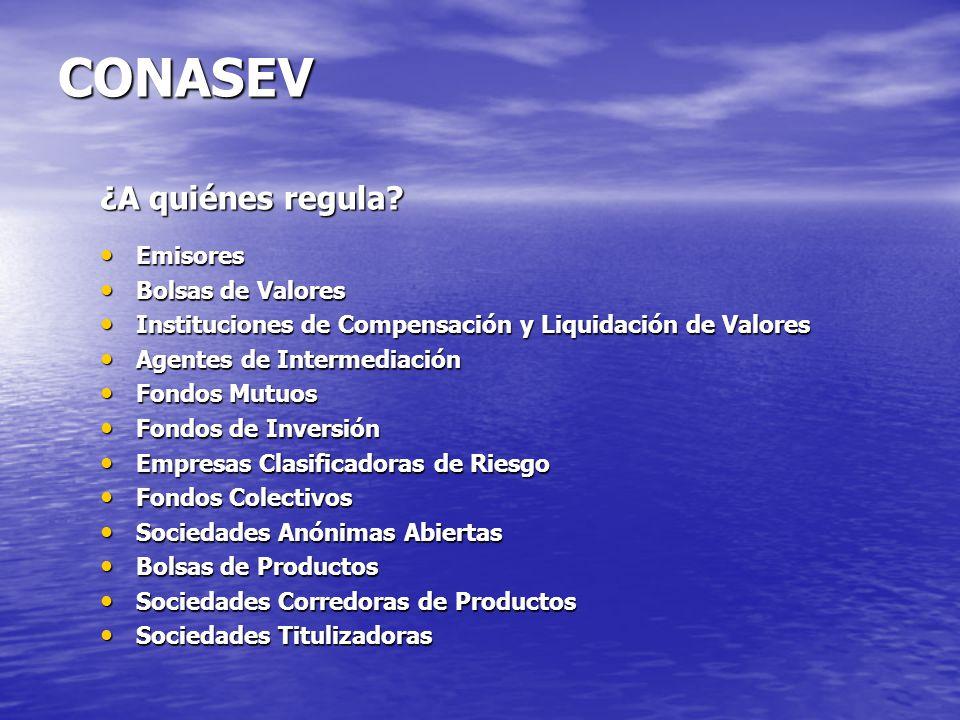 CONASEV ¿A quiénes regula Emisores Bolsas de Valores