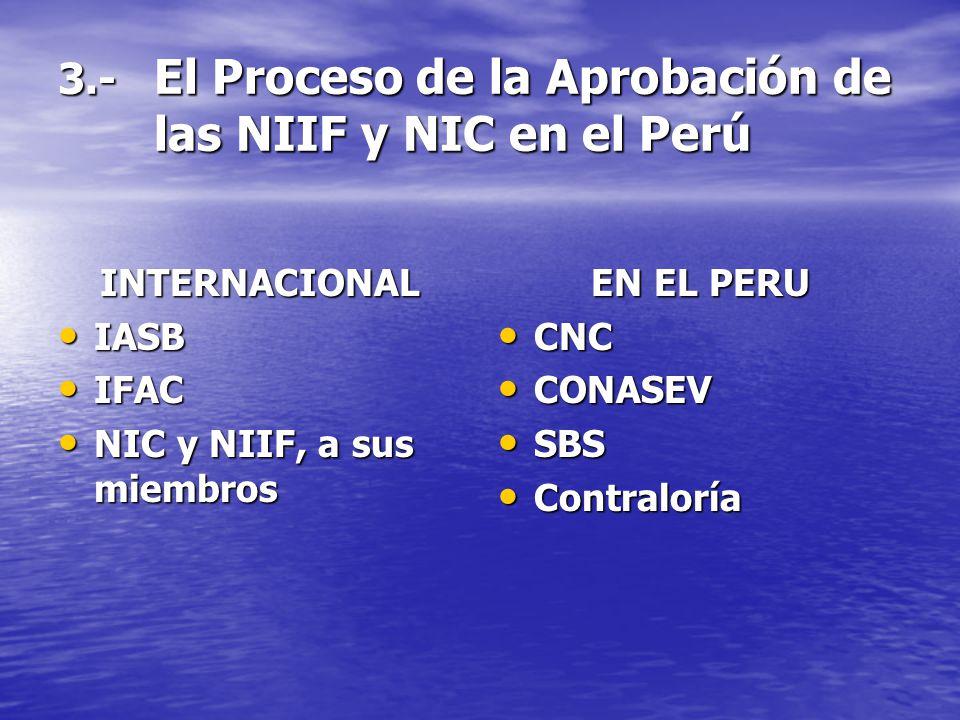 3.- El Proceso de la Aprobación de las NIIF y NIC en el Perú