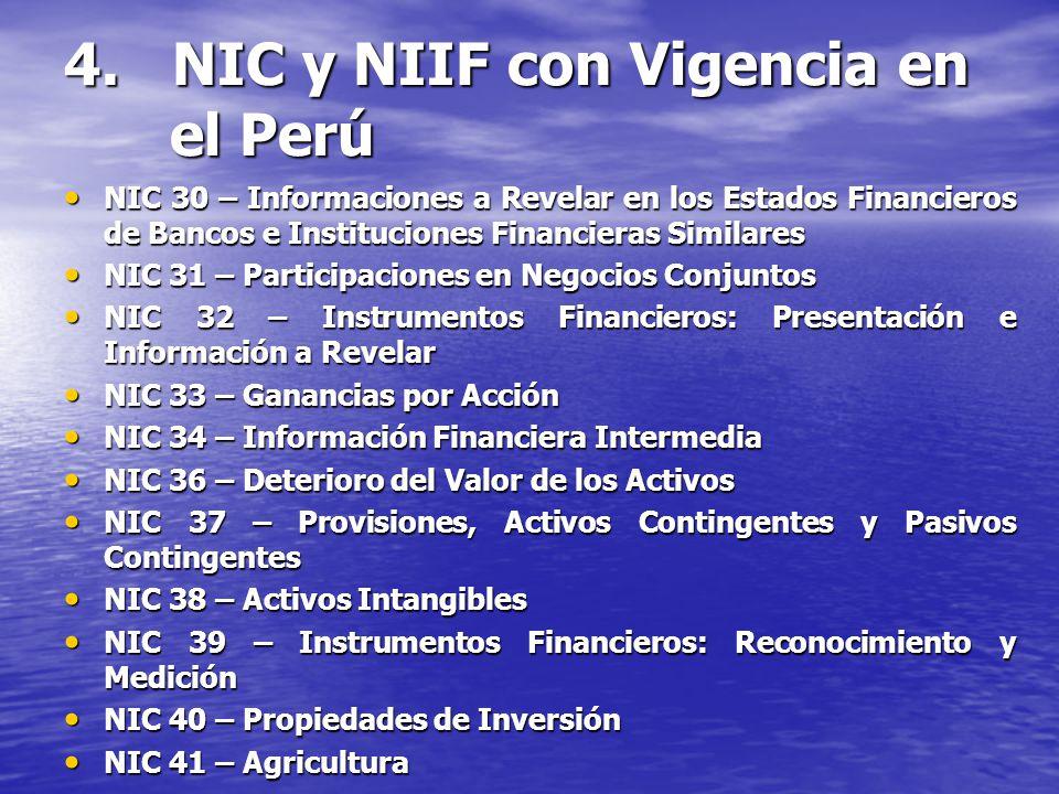 4. NIC y NIIF con Vigencia en el Perú