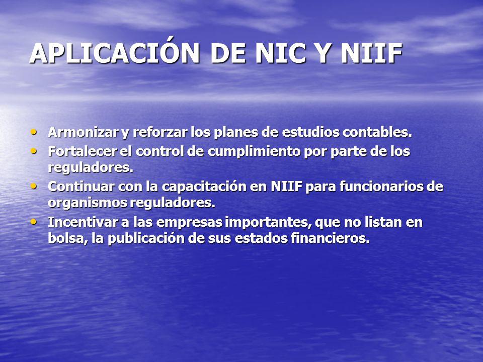 APLICACIÓN DE NIC Y NIIF
