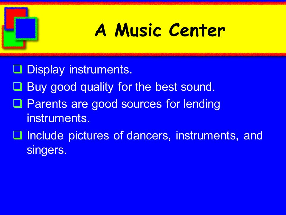 A Music Center Display instruments.