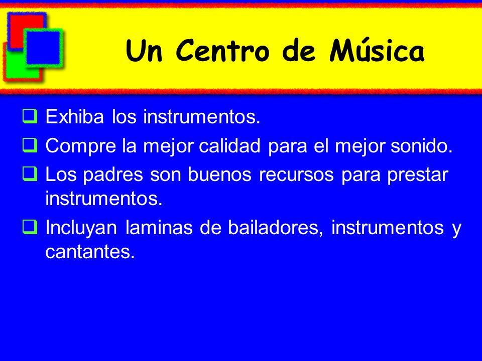 Un Centro de Música Exhiba los instrumentos.