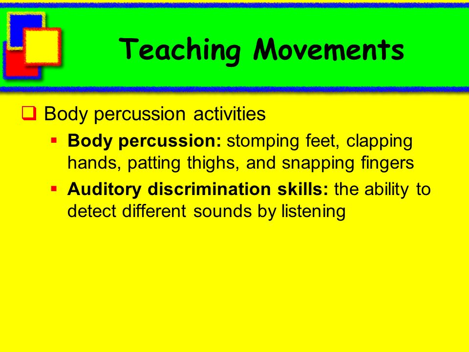 Teaching Movements Body percussion activities