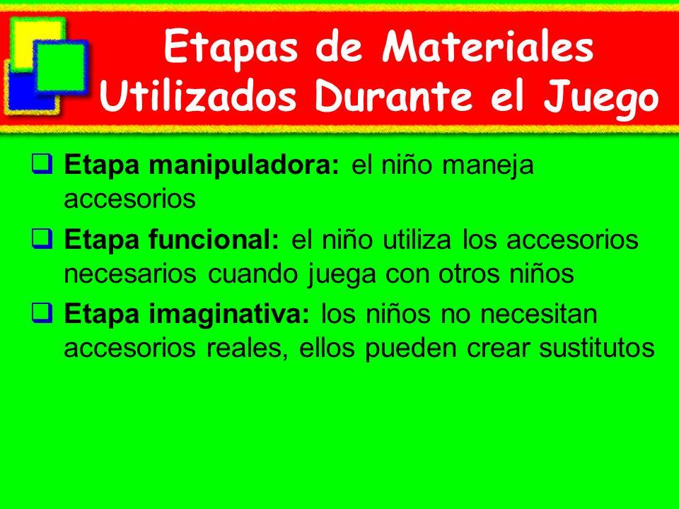 Etapas de Materiales Utilizados Durante el Juego