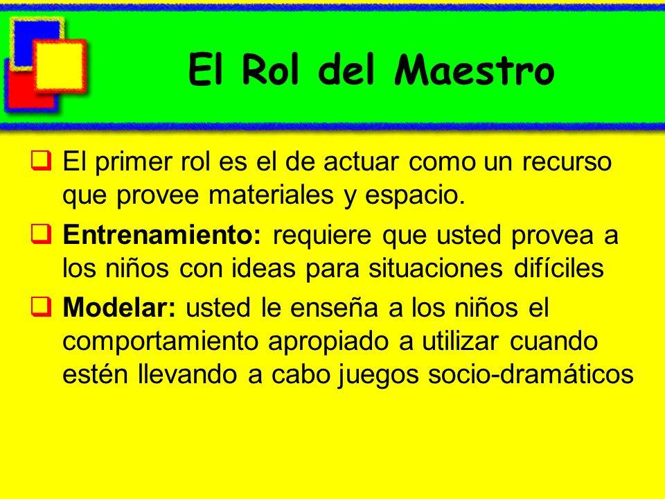 El Rol del Maestro El primer rol es el de actuar como un recurso que provee materiales y espacio.