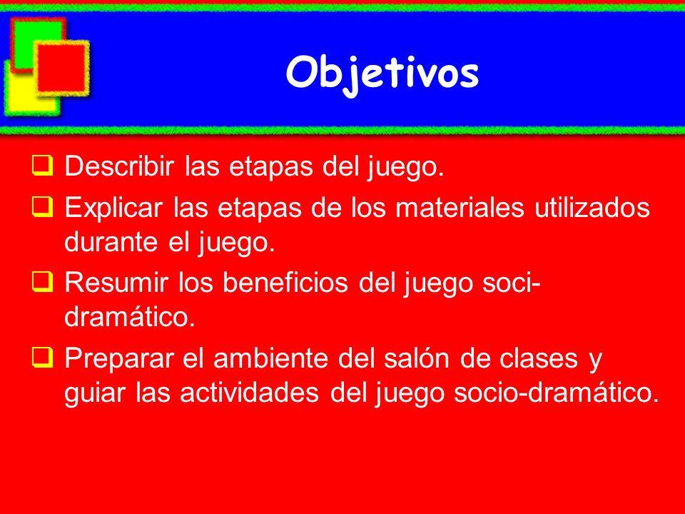 Objetivos Describir las etapas del juego.