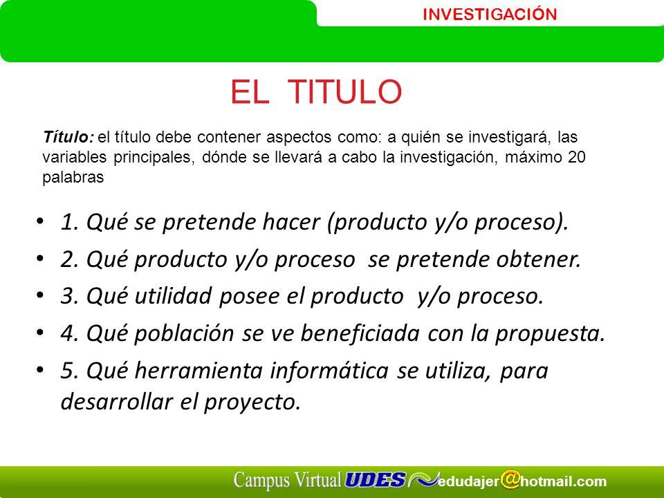 EL TITULO 1. Qué se pretende hacer (producto y/o proceso).