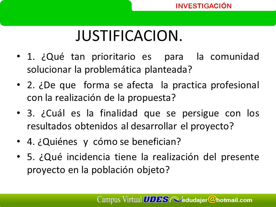 JUSTIFICACION. 1. ¿Qué tan prioritario es para la comunidad solucionar la problemática planteada